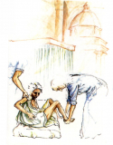 Paul Marabotto, Watercolour, My God, I want to serve you faithfully. With your grace I want to become a saint. - P. Monti
