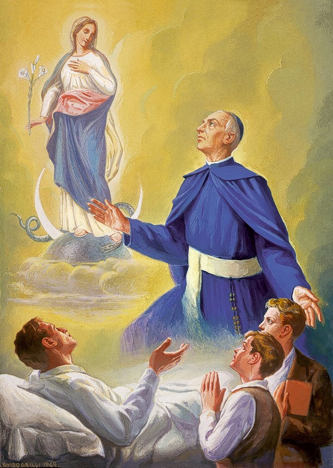 Blessed Luigi Maria Monti seeking the intercession of Immaculate Mother for the sick and needy youth.